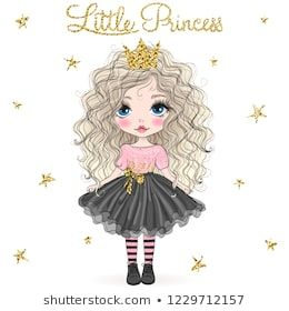 Hand Drawn Beautiful Cute Little Princess Girl With Crown Vector