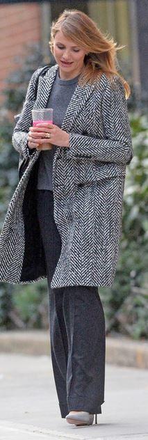 Manhattan Girl~  Cameron Diaz in Saint Laurant Coat- #LadyLuxuryDesigns