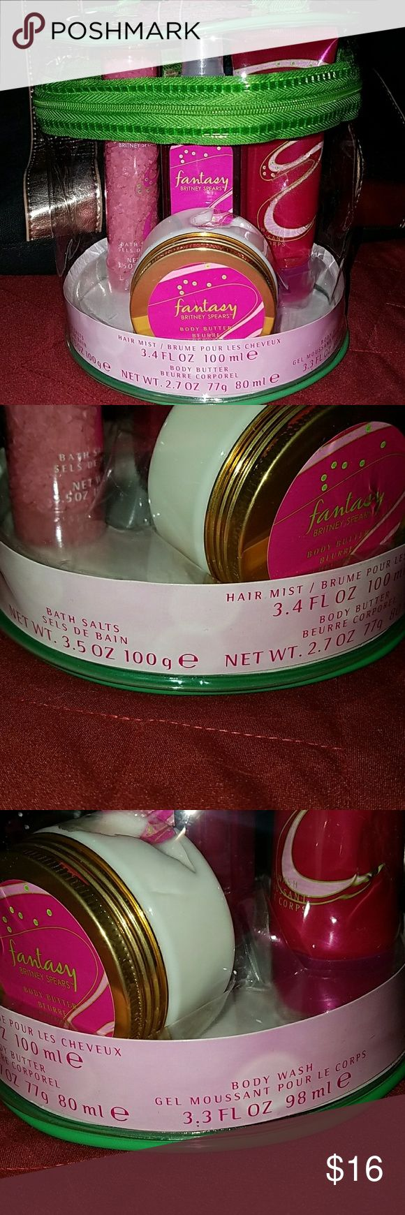 New Britney Spears Fantasy gift set Great for Easter or mothers day.   New Britney Spears Fantasy bath salts hair Mist body butter and body wash gift set with clear bag. jcpenney Makeup