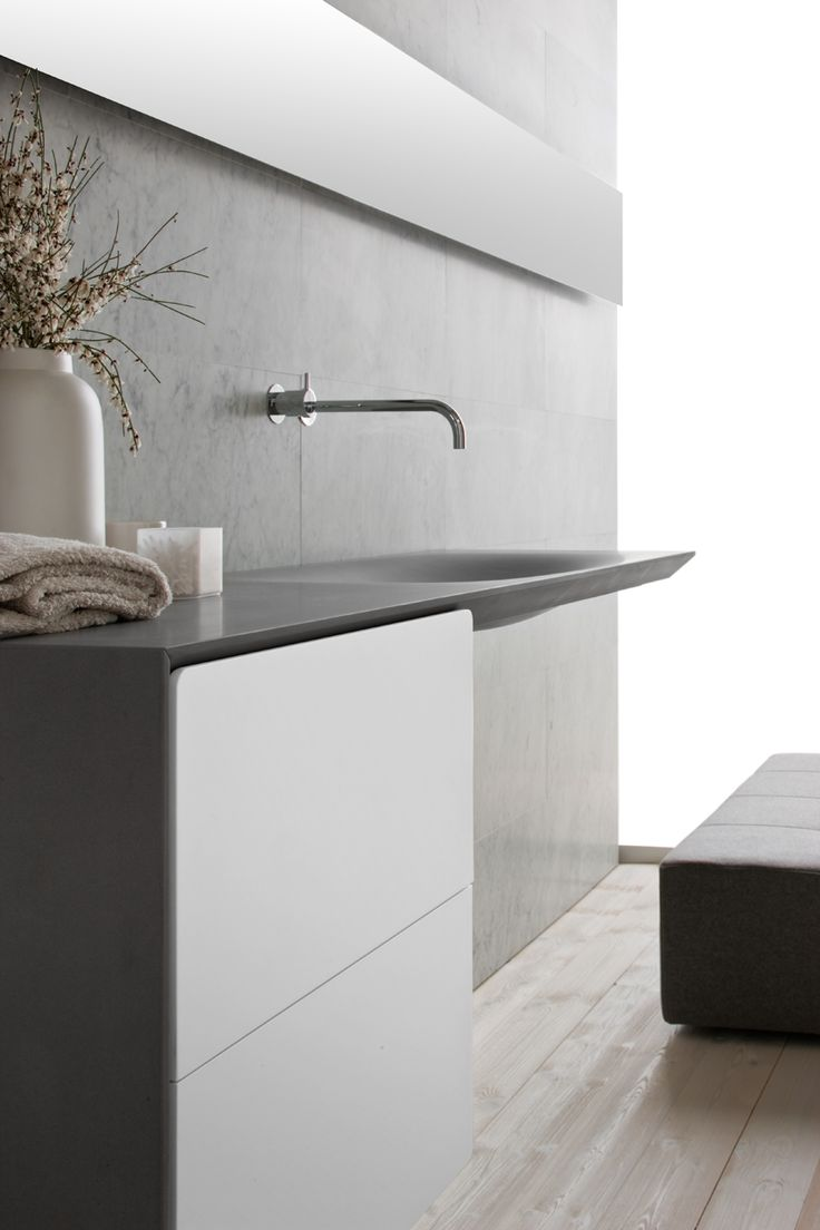 simplicity - wall mounted faucet, integrated sink and counter, black, weathered, white - Modern House, Luca Martorano