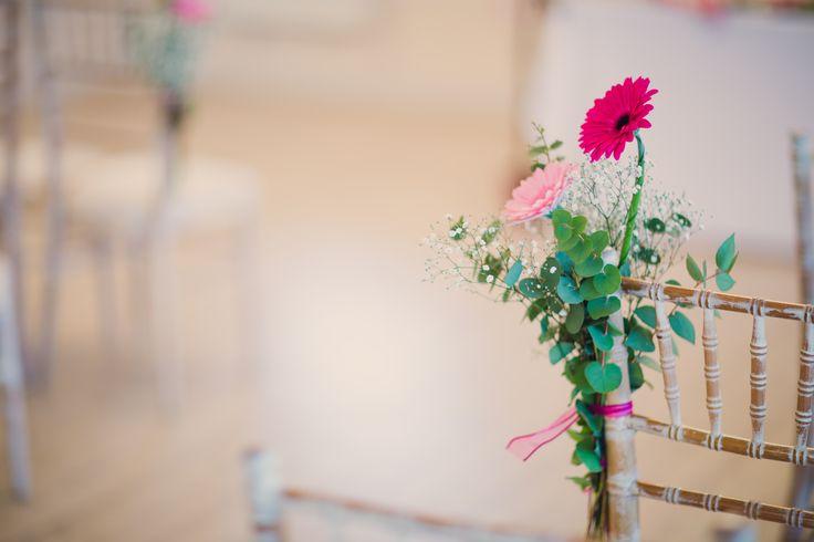 Cerise wedding flower chair decoration