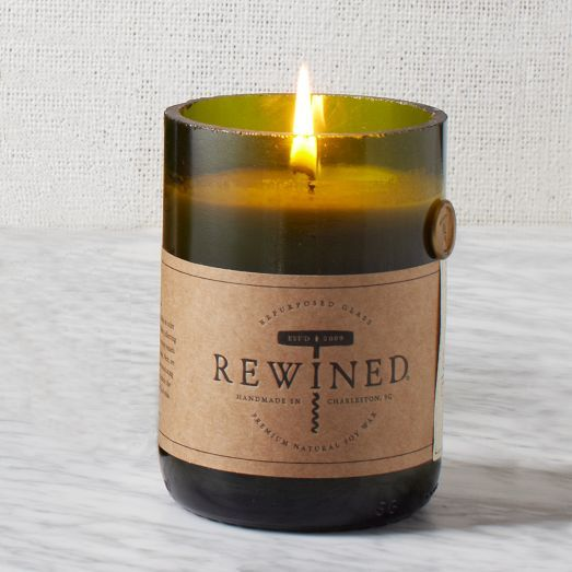 Rewined Candle-Chardonnay scent. Made from the bottom half of a wine bottle and it smells DELICIOUS. Best valentine's day gift ever.