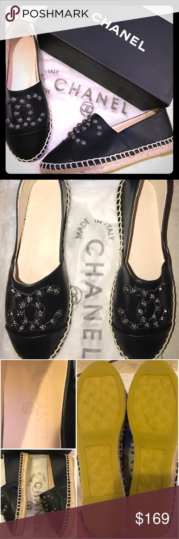 Designer 🖤NEW Leather & Floral Stud Espadrilles OnSALE 🎉 New and never used! Highest quality wanna beChanels ❤️ Real leather and medal floral studs and amazing espadrilles wicker. These are Identical to the real deal 100000% Comes with shoe box and shoe garment bags. Fits 8-8.5 and perfect for Day to Night, Casual to Dressy, Summer to Winter! CHANEL Shoes Espadrilles