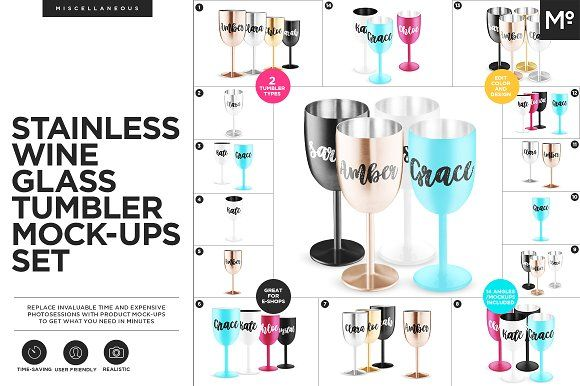 Stainless Wine Glass Tumblers Mockup by Mocca2Go/mesmeriseme on @creativemarket