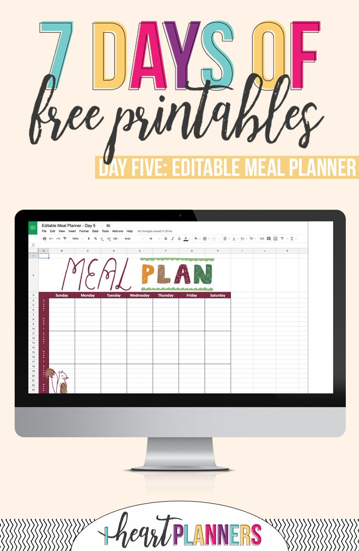 Editable Meal Planner Printable Meal planner printable