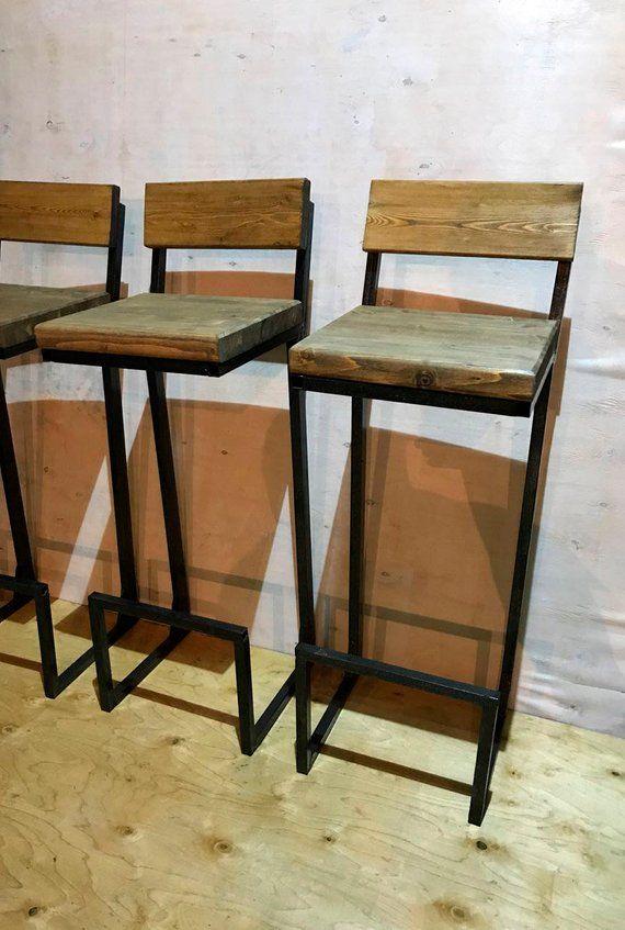 Height 13 40in 33 99cm Wood Metal Stool Etsy Bar Stools Wood Metal Stool Metal Counter Stools