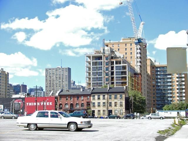 November 17, 2016: North View from Mutual Street between Queen and Shuter, photo taken August 25, 2002 by Edward Skira #UrbanToronto #Toronto #urban #city #downtown #TBT #ThrowbackThursday #building #architecture #construction