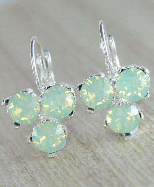Mint opal earrings Mint green crystal earrings