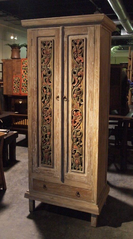 Painted Carved Panel Teak Cabinet | Gado Gado