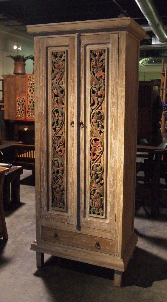 Painted Carved Panel Teak Cabinet www.GadoGado.com
