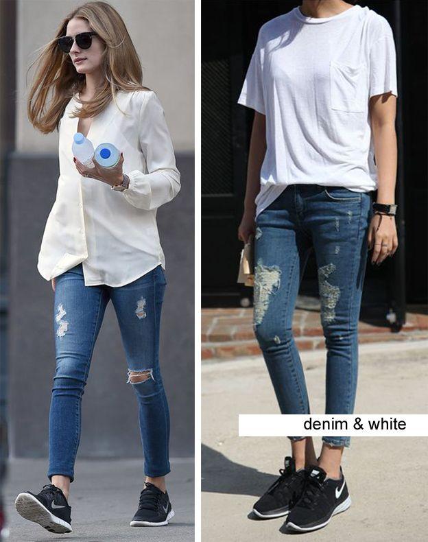Outfit jeans + blanco ... y a los pies... unas nike !! Súper tendencia y súper…