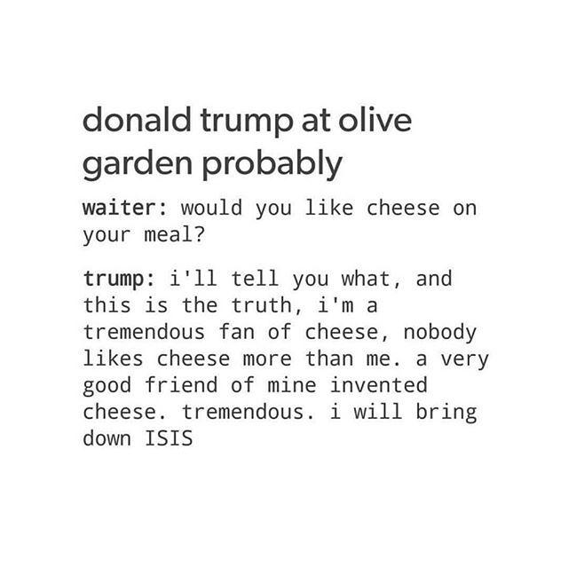 trump sucks, olive garden