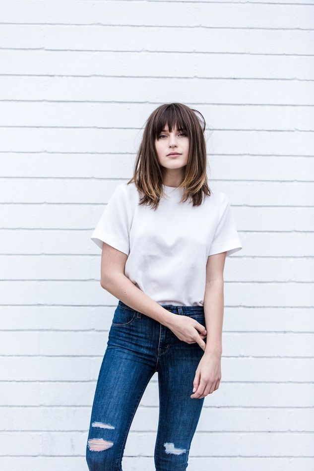 Weekend Style: white top & ripped jeans #style #fashion #hair #longbob #bangs