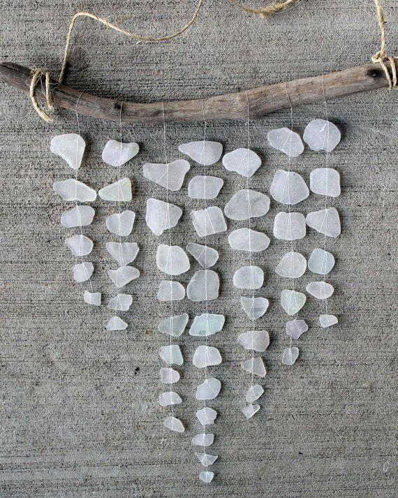 Sea Glass Mobile, White Glass, Driftwood