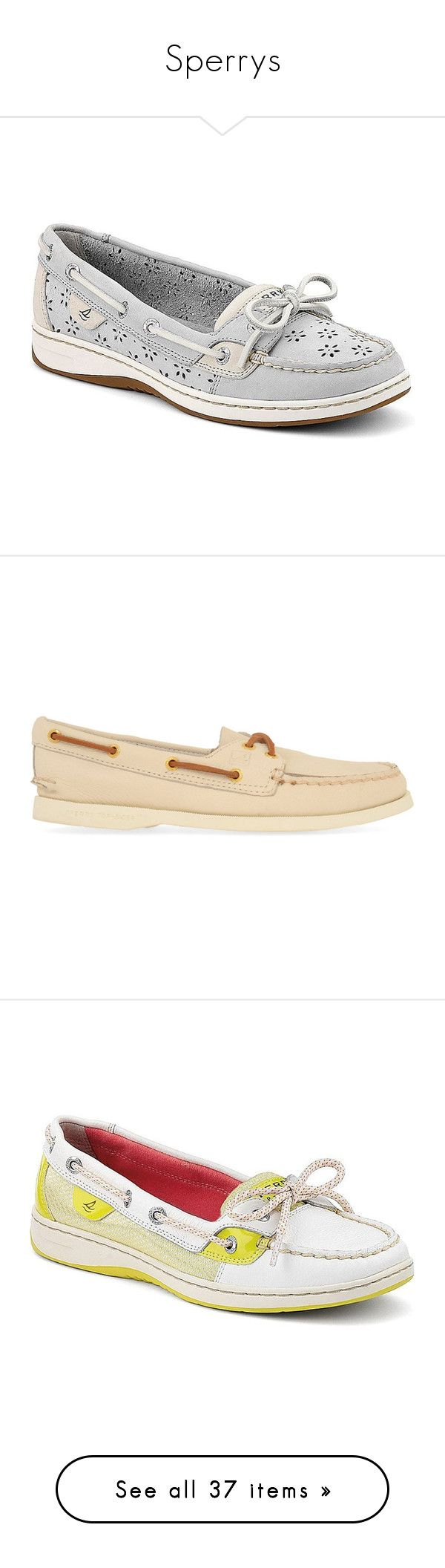"""Sperrys"" by beautyoftherain ❤ liked on Polyvore featuring shoes, loafers, flats, sperry, light gray perf leather, flat shoes, leather flat shoes, sperry topsiders, perforated flats and leather shoes"