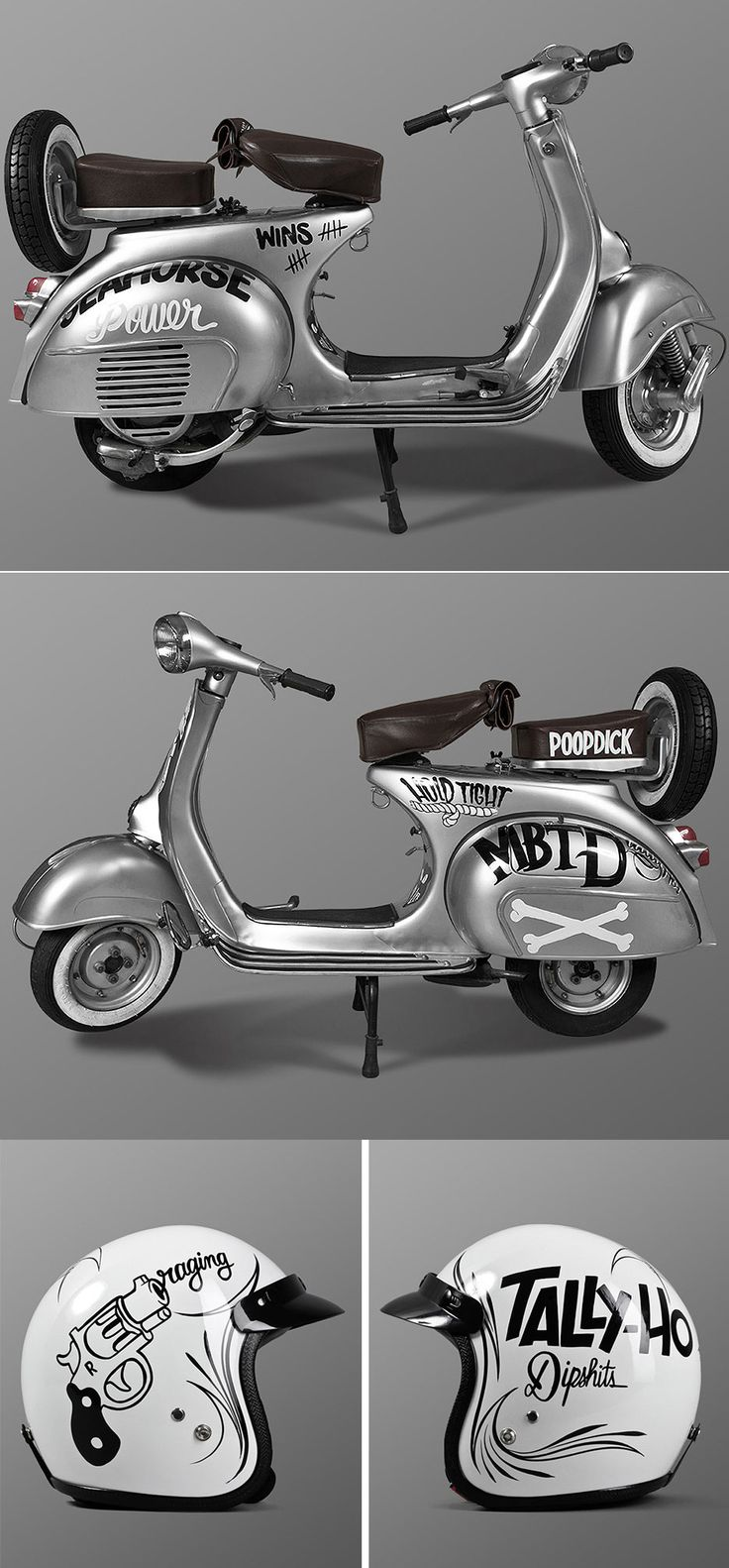 A 1961 Vespa, fully restored with original parts, decals, Café Racer Helmet and leather toolbag designed by Mcbess and painted by Toons One from the Berlin based Tuning shop Cafe Racer 69.