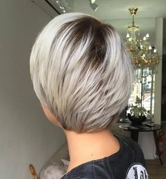 Short Layered Platinum Haircut