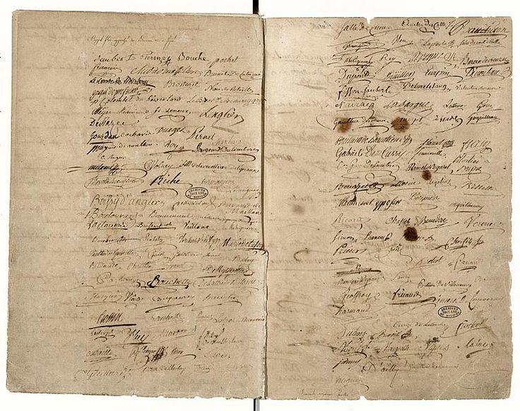 :Procès verbal de la prestation du serment du Jeu de Paume Page de signatures - Archives Nationales -