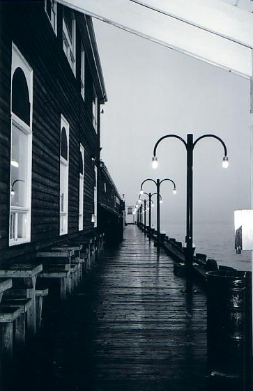 The boardwalk next to Murphy's On The Water on the historic Halifax Waterfront in Nova Scotia. Creepy or beautiful? You be the judge.