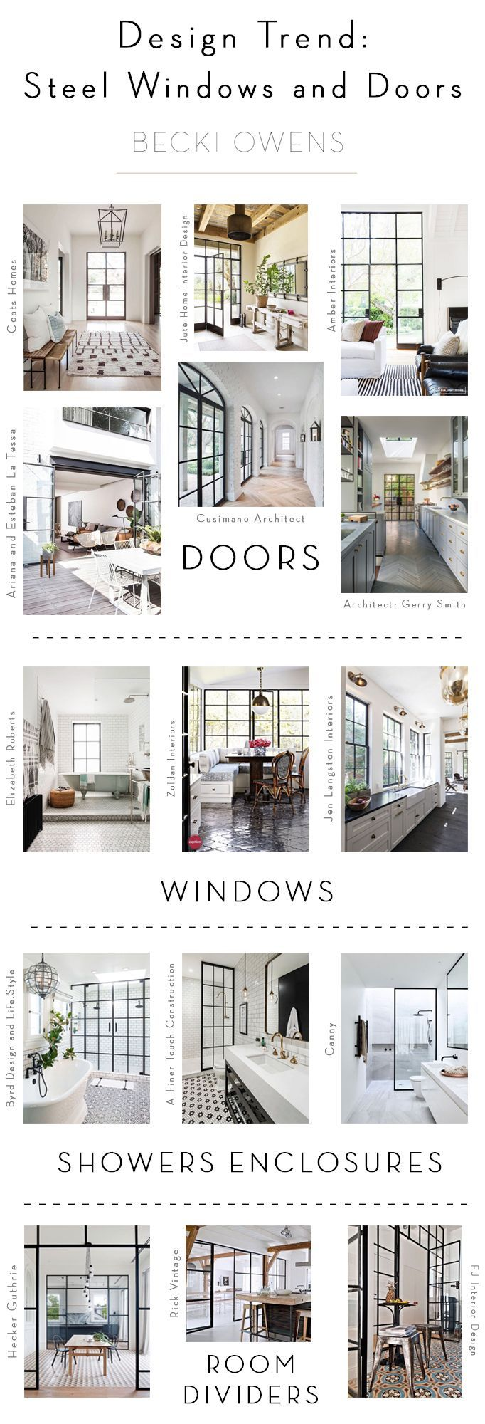 One of my favorite trends in design right now is the use of steel windows and doors.