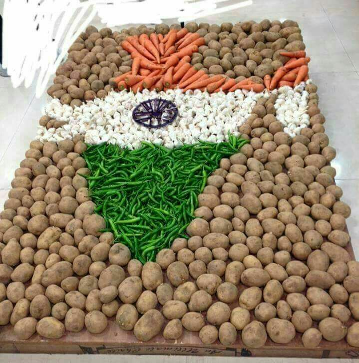 Vegetables arranged to form the map of India & in colours of Indian Flag.