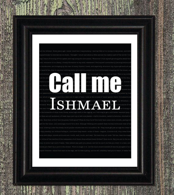 Moby Dick Quote Print Call me Ishmael by JaneAndCompanyDesign