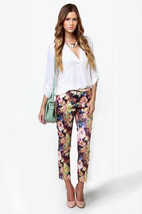 Cute Floral Print Pants - Cropped Pants