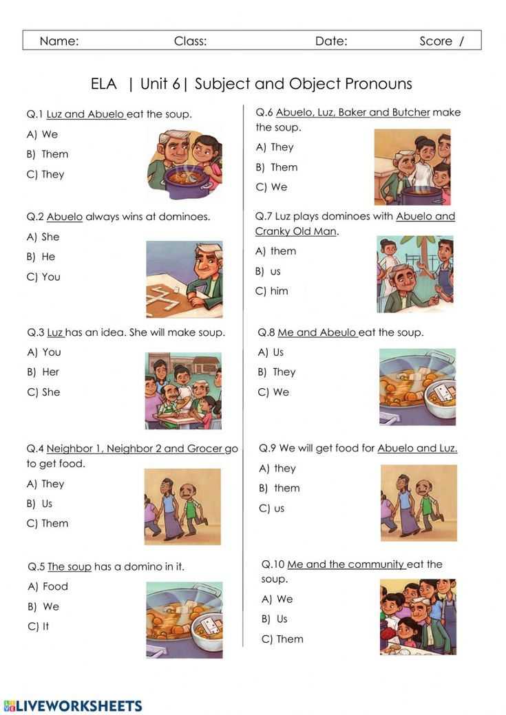 Subject And Object Pronouns Interactive Worksheet Object Pronouns Pronoun Activities Pronoun Subject object pronoun worksheets