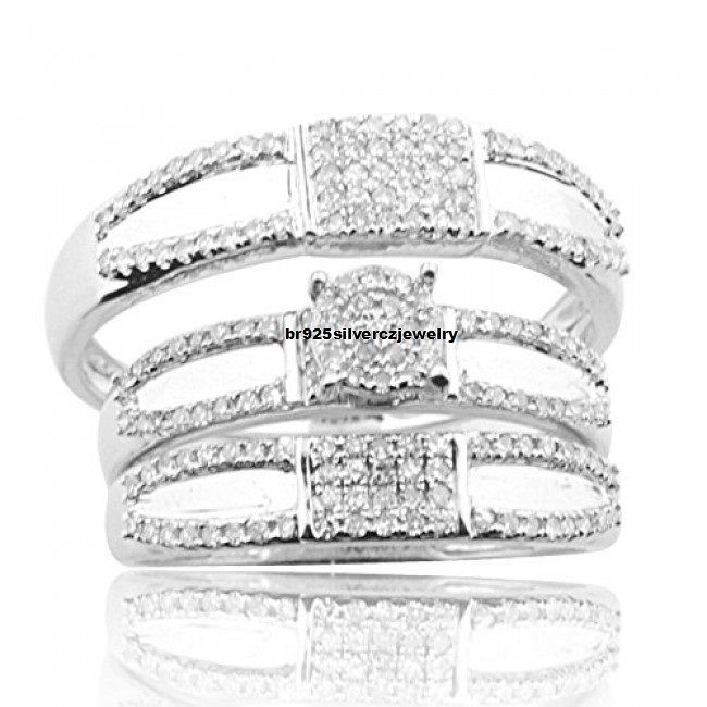 His And Her Trio Wedding Band Rings Set 14K White Gold Finish 2.1/2cttw Diamonds #br925