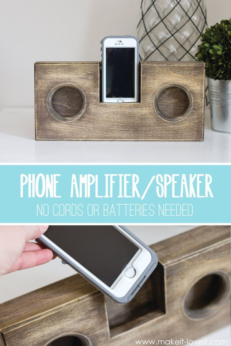 DIY Wooden Phone Amplifier/Speaker (no cord or batteries needed) | via Make It and Love It #woodworking