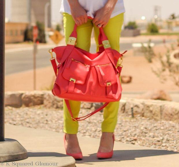 Just fab magic kingdom bag lizette pumps signature skinny brights lime green