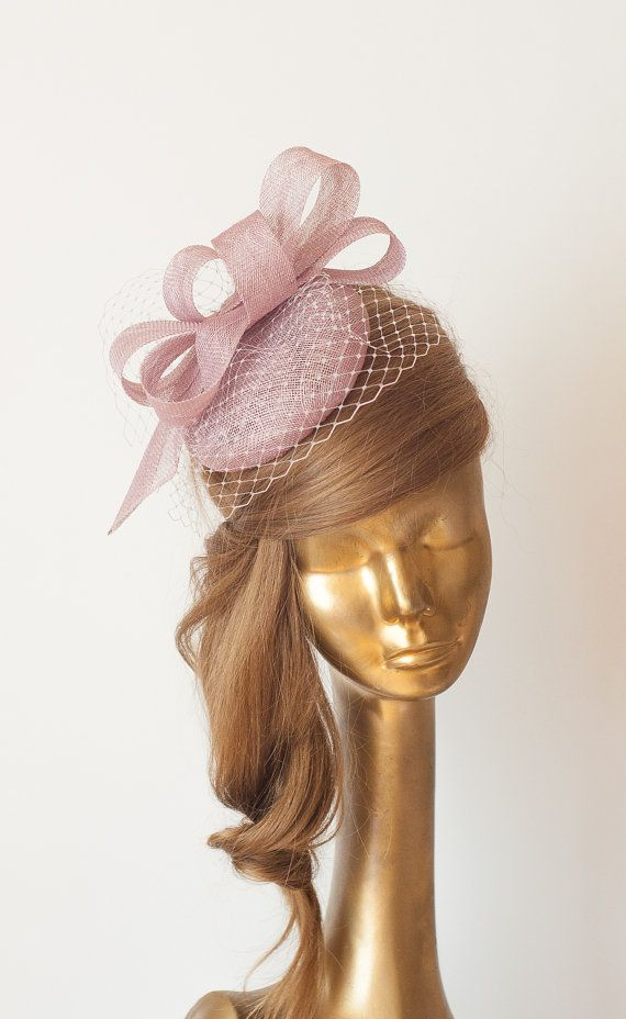 LILAC FASCINATOR. Sinamay Bridal Fascinator with Veil . Heather Derby Mini  Hat by ancoraboutique  ba01806119a