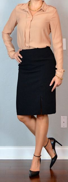 Outfit Posts: outfit post: peach/taupe/nude silk blouse, black pencil skirt, pointed toe heels