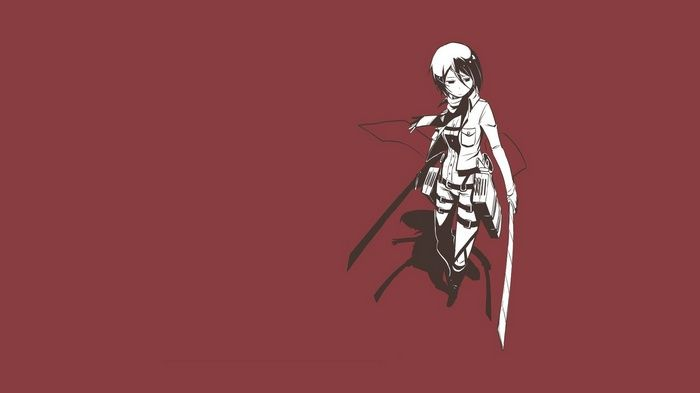 Mikasa Ackerman Shingeki No Kyojin Red Simple Background Wallpaper Attack On Titan Anime Attack On Titan Attack On Titan 2