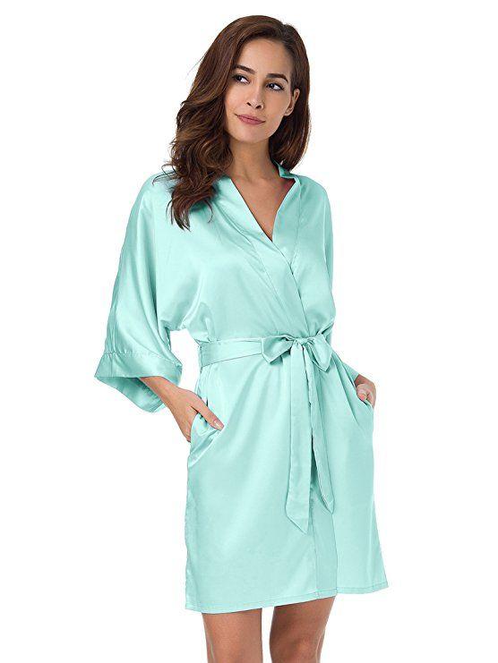 SIORO Womens Kimono Robe Bridesmaid Satin Robes Silk Lightweight Nightwear V -Neck Sexy Sleepwear Pajamas Short Bathrobe Loungewear P…  064f6131d
