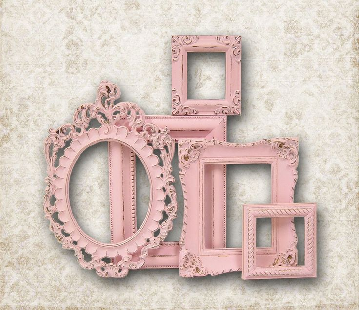 RESERVED FOR M Shabby Chic Picture Frame Pastel Pink Picture Frame Set Ornate Frames Wedding Nursery Shabby Chic Home Decor.