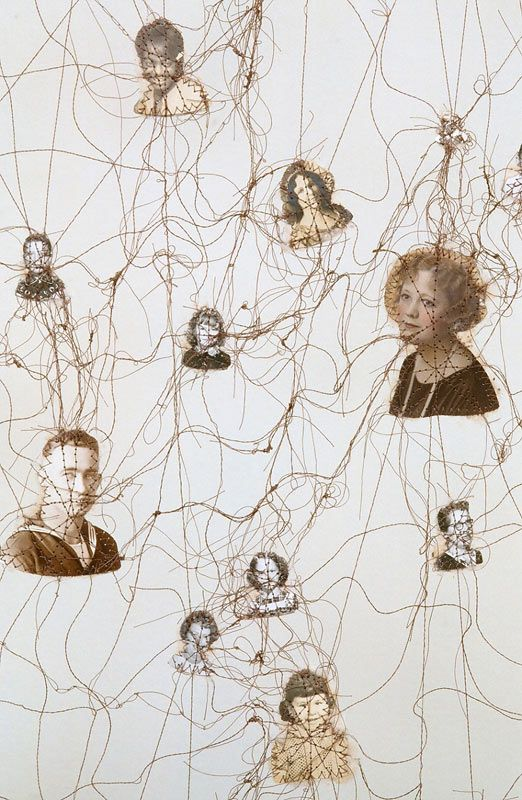 Constellation, detail, Lisa Kokin | Sewn Found Photo Art