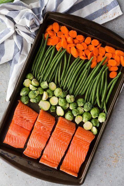 Sheet Pan Teriyaki Lachs Mahlzeit Prep dauert nur Minuten zusammen zu werfen und kl …   – Cooking