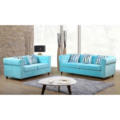 Container Obscure 2 Pieces Sofa and Loveseat Set Color: Blue