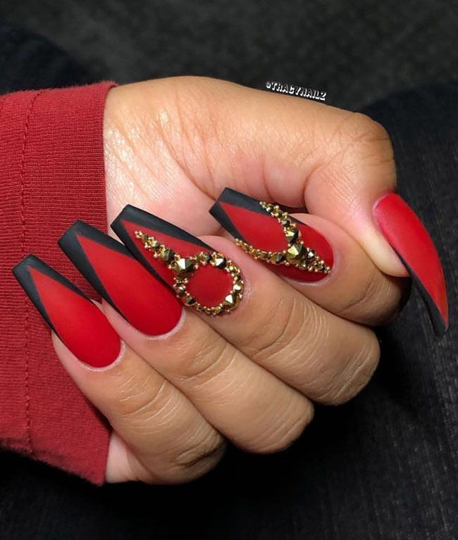 Cool Long Coffin Nail Designs French Tip Nail Designs Red Acrylic Nails Coffin Nails Designs