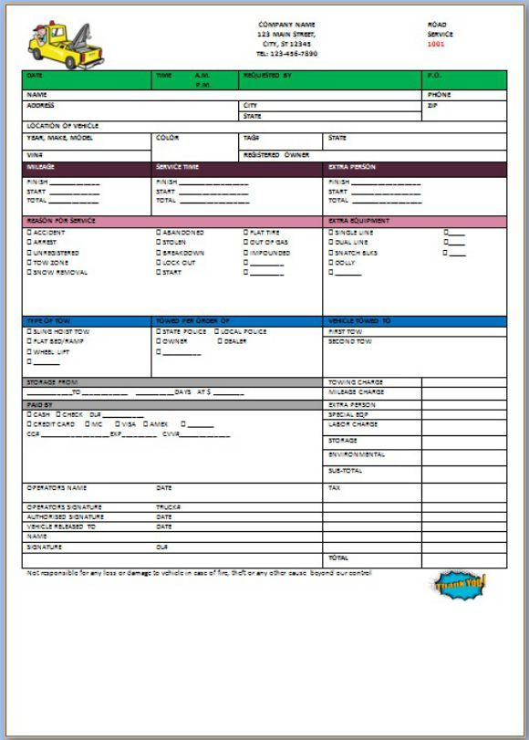 free towing invoice template