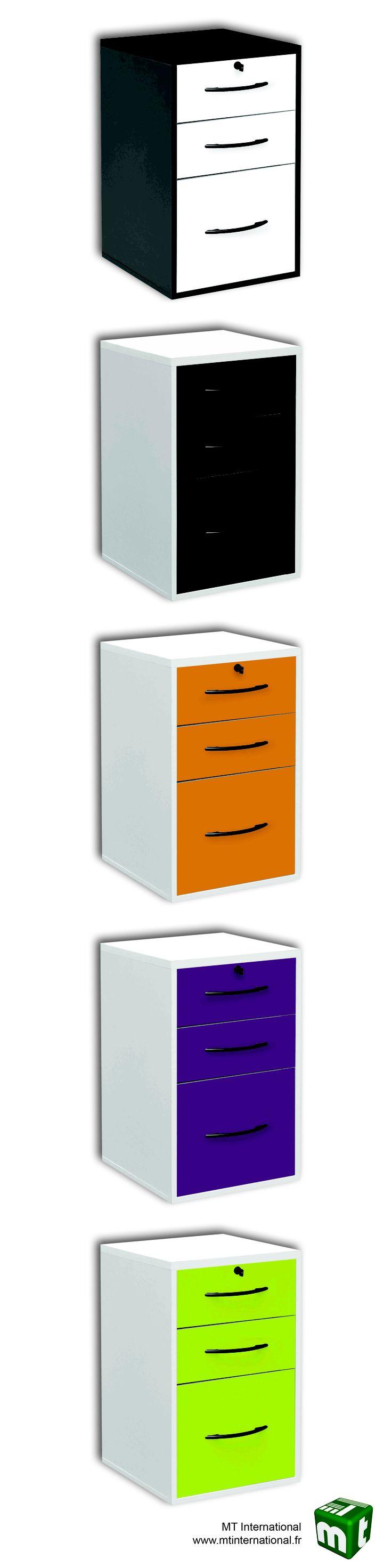 Classeur 2 tiroirs papeterie + 1 tiroir dossiers suspendus - 5 coloris