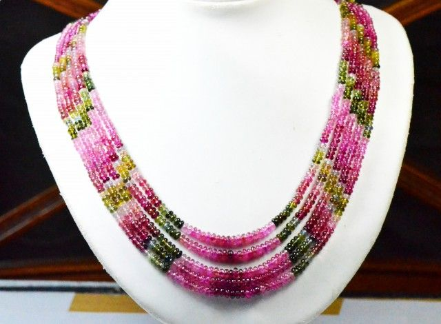 "3mm to 4mm AAA 300ct 5 lines 16 to 20"" Watermelon Tourmaline beads nec gemstone necklace, necklace, necklace tourmaline"