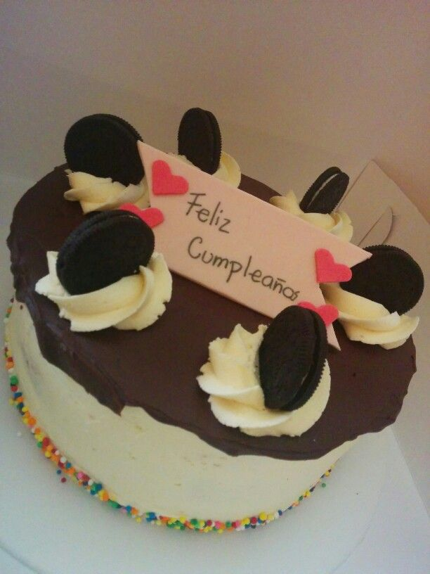 #Oreo #cake filled with #chocolate ganache and topped with Oreo #cookies! We make this for a #birthday party.