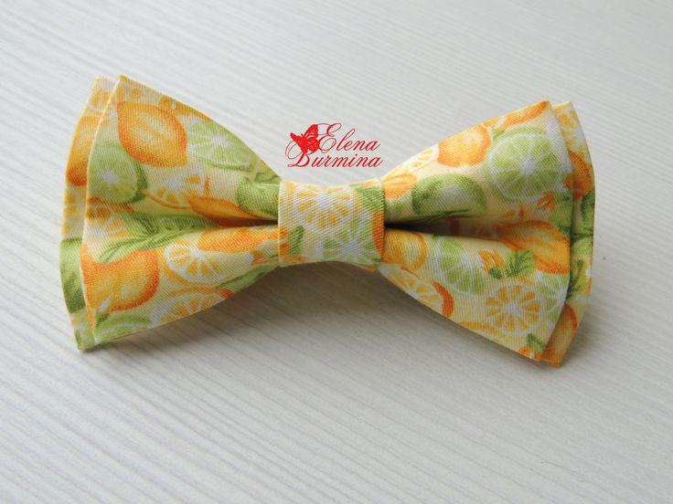 Купить Комплект цитрусовых бабочек: папа-мама-сын, хлопок - желтый, рисунок, лимон, цитрусовый