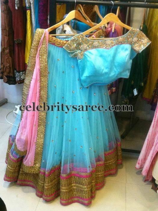 Light Sky Blue Pretty Half Saree | Saree Blouse Patterns