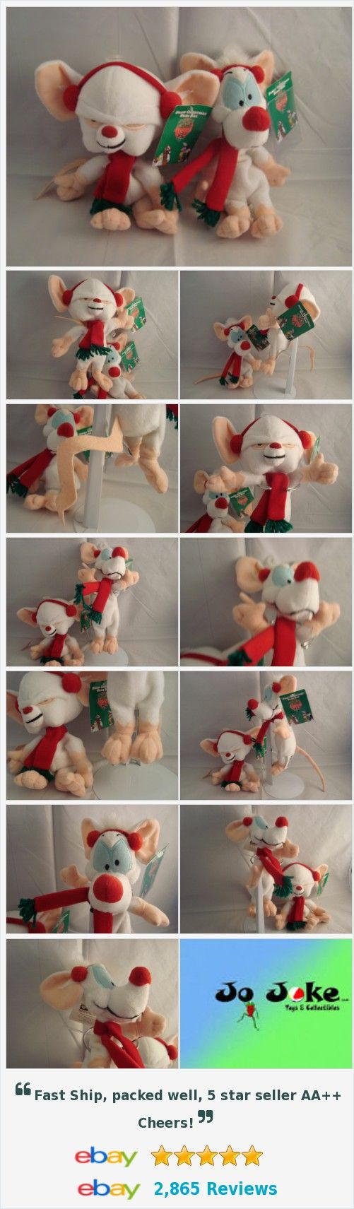 "WARNER BROS STUDIO STORE-PINKY&THE BRAIN-9""-8""-BEAN PLUSH SET-NEW/TAGS-UNIQUE  