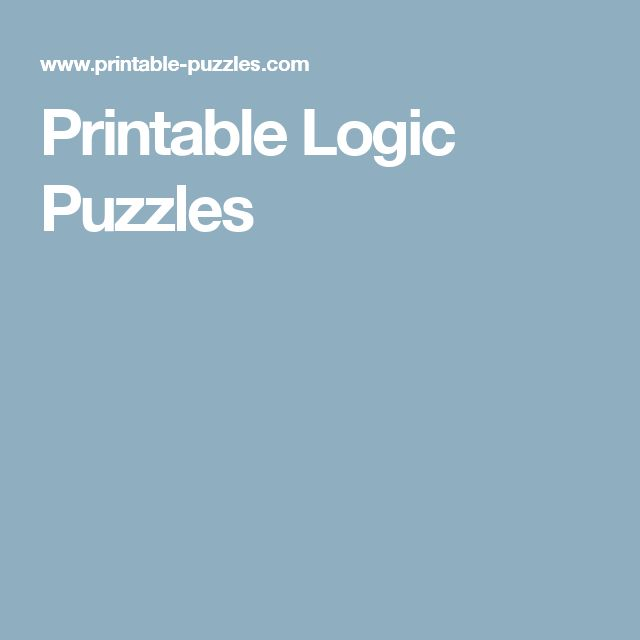 7 best Puzzlers of many types images on Pinterest | Logic games ...