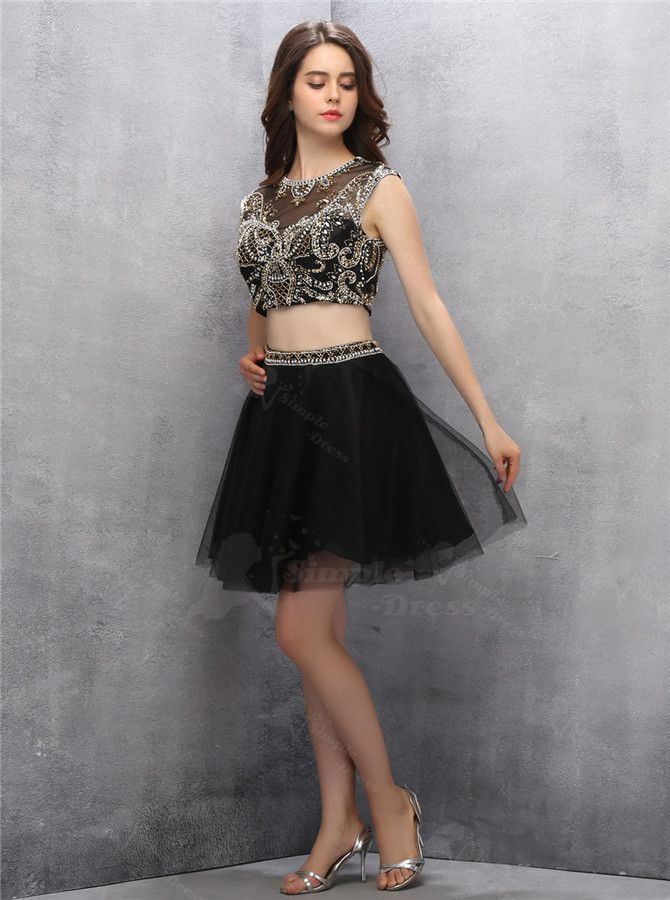 2b48326376d Two Piece Open Back Short Black Homecoming Dress with Gold Sequins - Homecoming  Dresses - US
