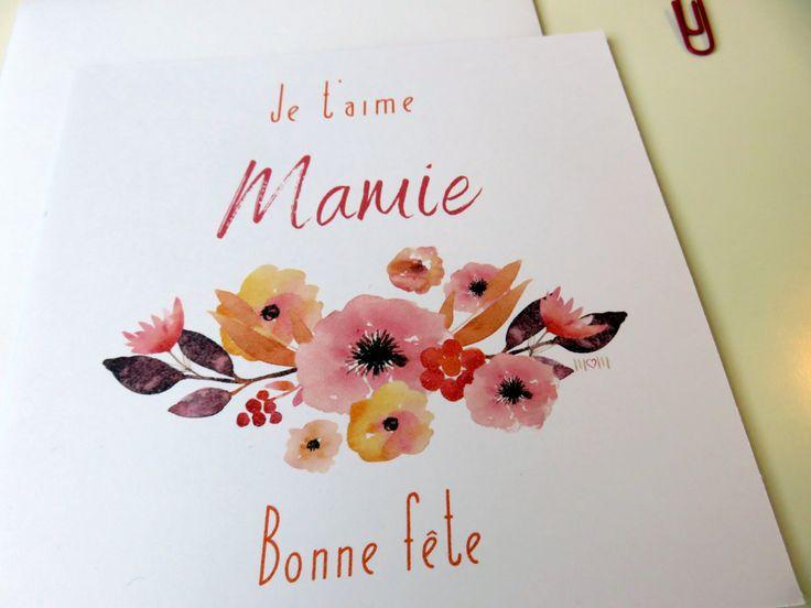 Carte Bonne Fête Mamie- Fête des grand-mères- Couronne de fleurs- Orange et pourpre- Pour mamie- Aquarelle- Grand-mère- Je t'aime- Carte de la boutique MarieMagueloneShop sur Etsy